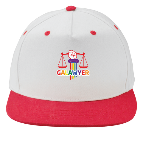 White and Red Flat Bill Snapback Cap