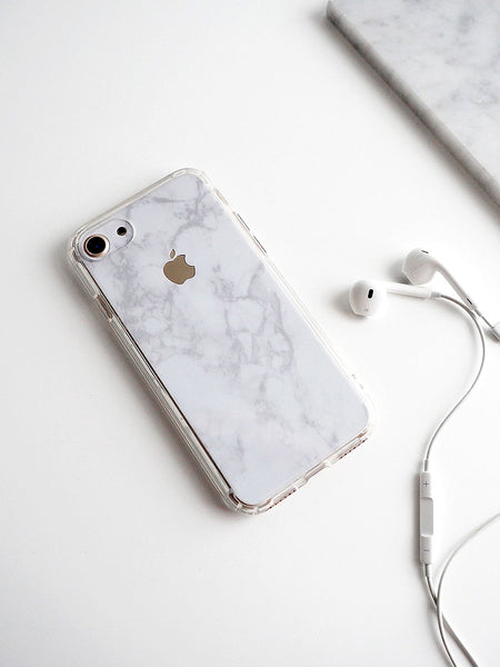White Marble Skin + Clear Case (iPhone)