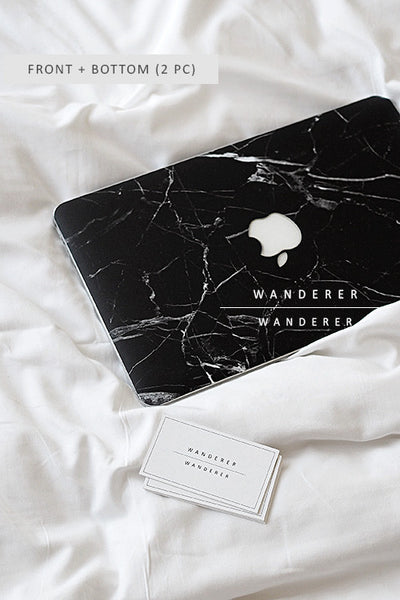 Black Marble Skin For Macbook (Front+Bottom) , Apartment - Wanderer Wanderer, Wanderer Wanderer  - 1