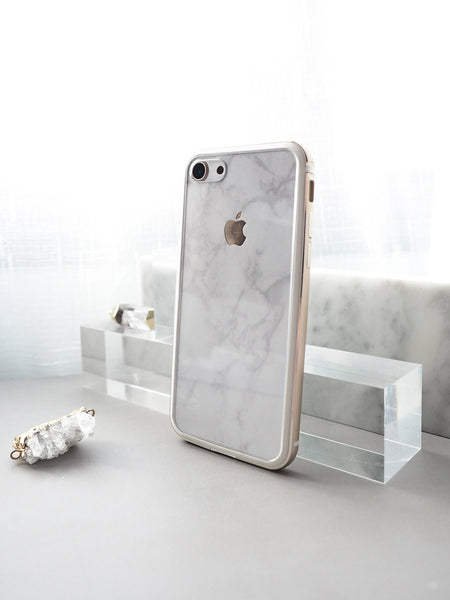 White Marble Skin + Gold Bumper Case (iPhone)