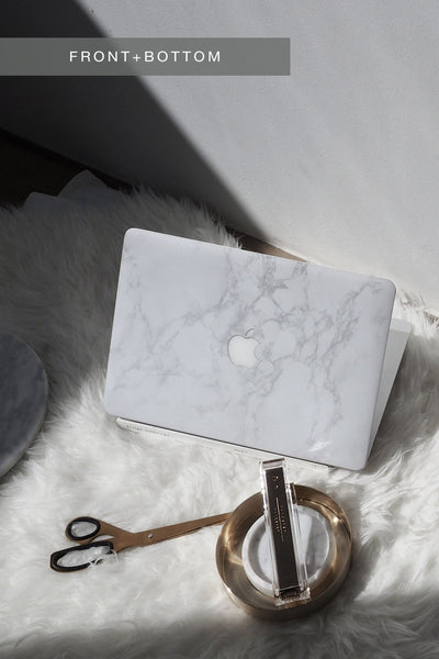 White Marble Skin For Macbook (Front+Bottom)