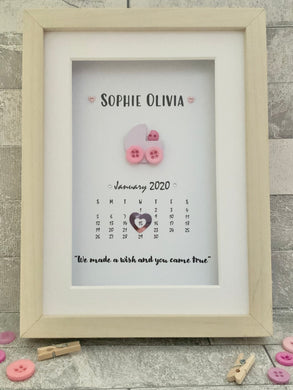 Baby Date Button Frame