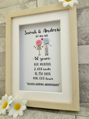 Golden Anniversary Button Frame