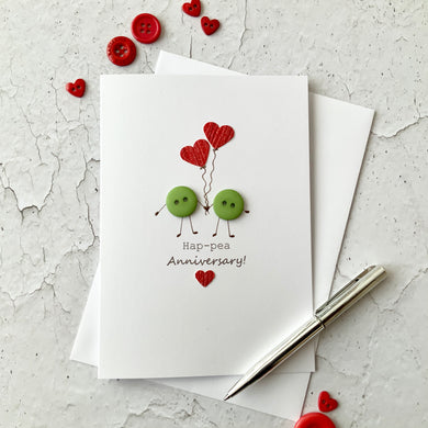 Hap-Pea Anniversary Card - Personalised