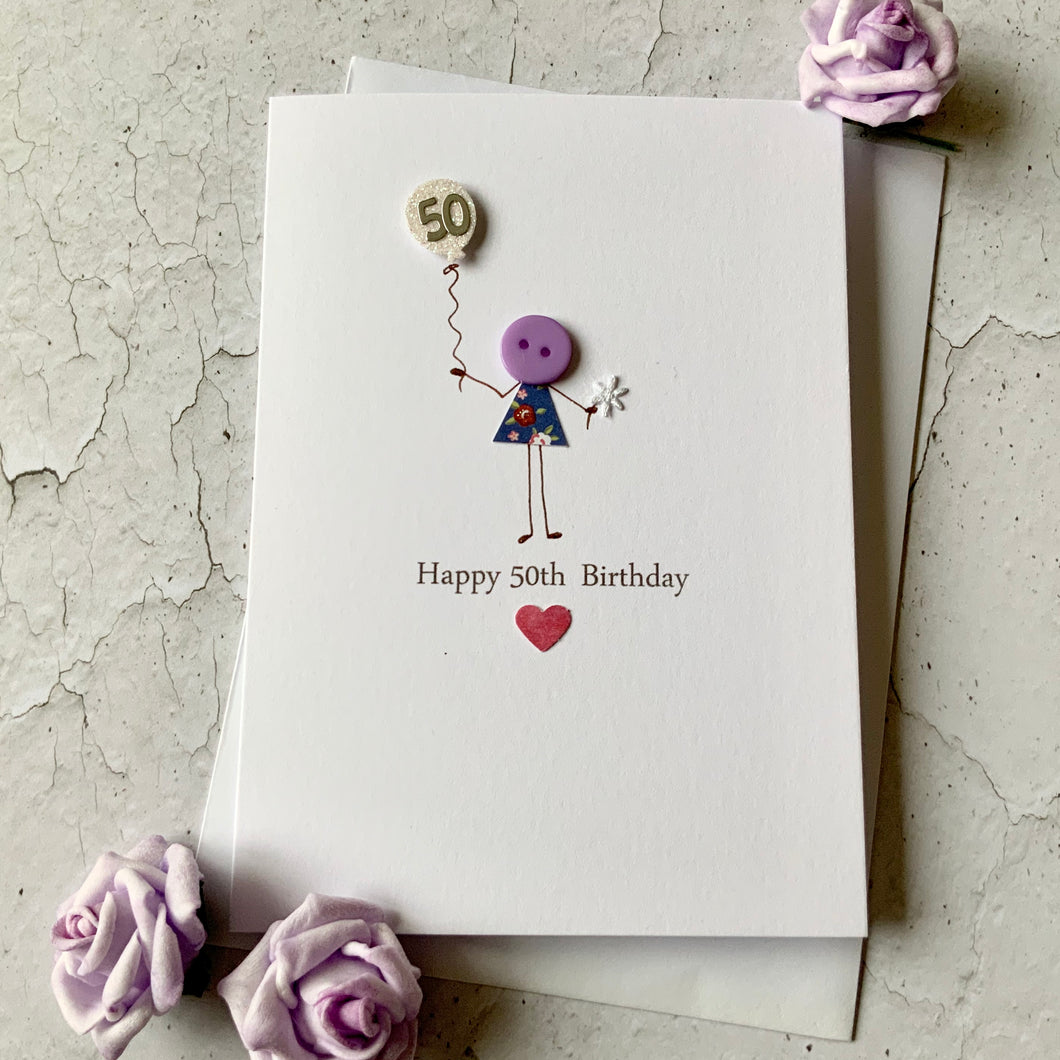 Happy 50th Birthday card - Personalised