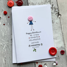 Load image into Gallery viewer, Happy Christmas My Crazy Wonderful Friend Pack of Four Christmas Cards