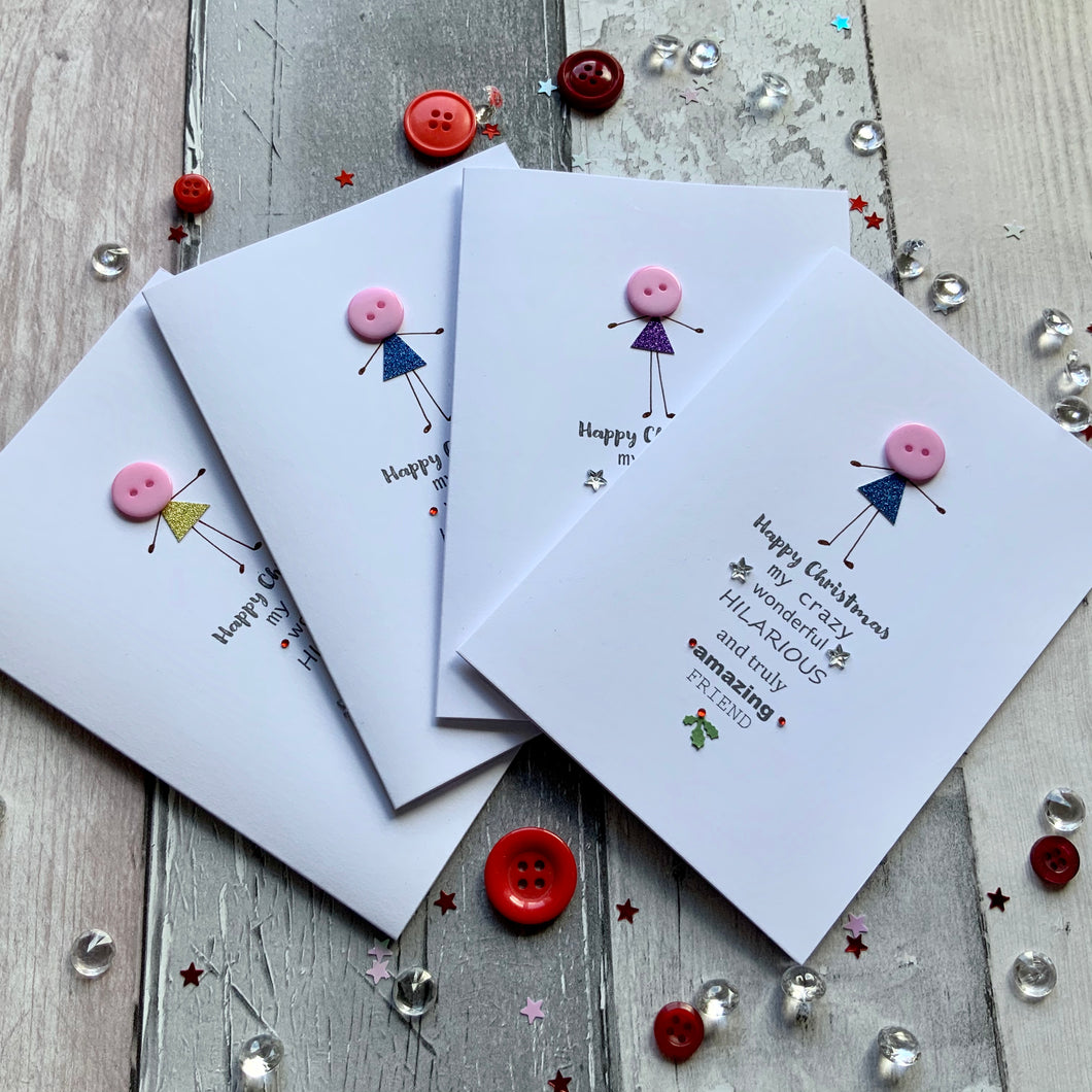 Happy Christmas My Crazy Wonderful Friend Pack of Four Christmas Cards