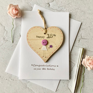 Happy 18th Wooden Heart Card