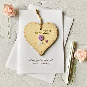 Happy 21st Wooden Heart Card