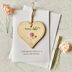 Happy 40th Wooden Heart Card