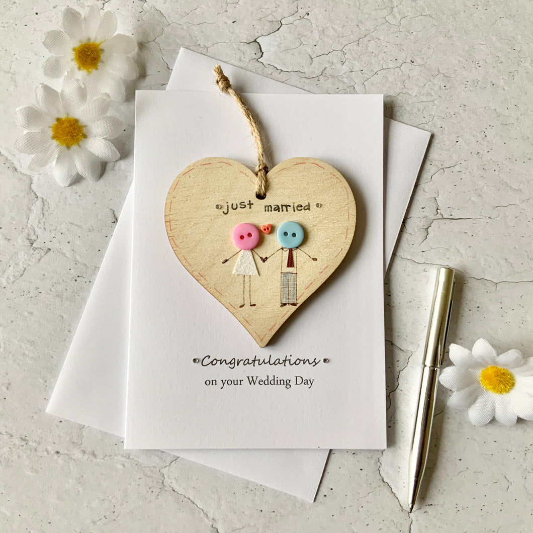 Just Married Wooden Heart Card