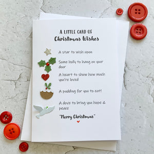 Little Card of Christmas Wishes (Non-Alcoholic) Pack of Four Christmas Cards