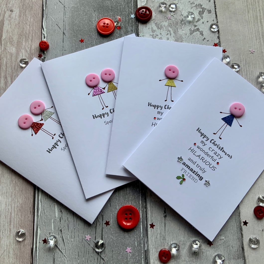 Mixed Friends Pack of Four Christmas Cards