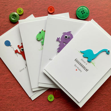 Monster Birthday  Bundle Pack of Four Cards