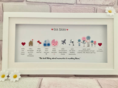 Our Story Button Family Frame (Landscape)
