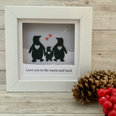 Penguin Moon & Back Family Mini Frame