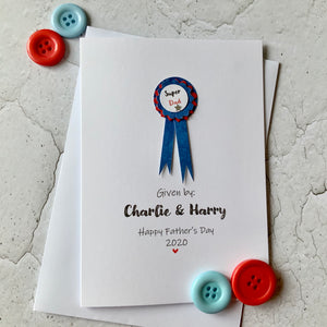 Personalised Rosette Father's Day Card