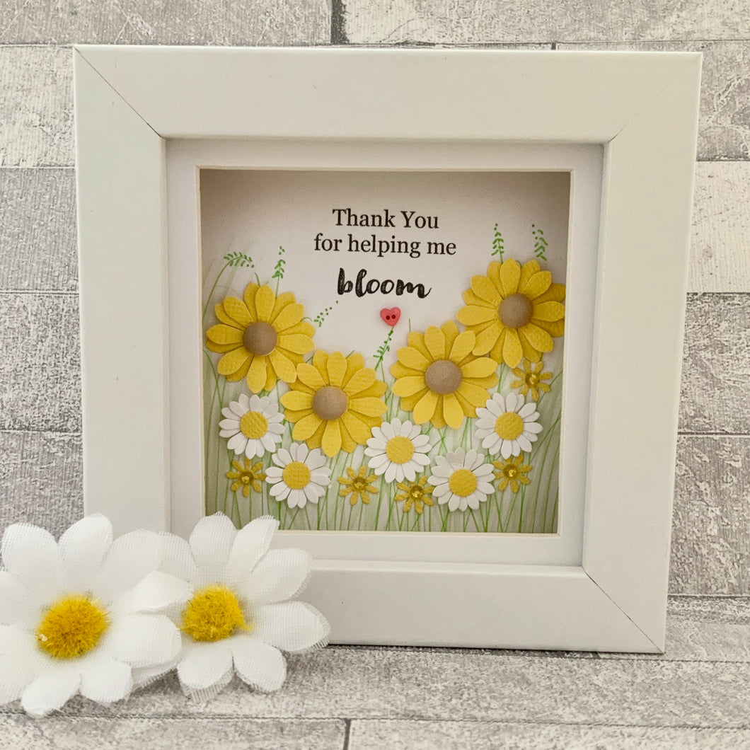Thank You For Helping Me Bloom Sunflower Mini Frame