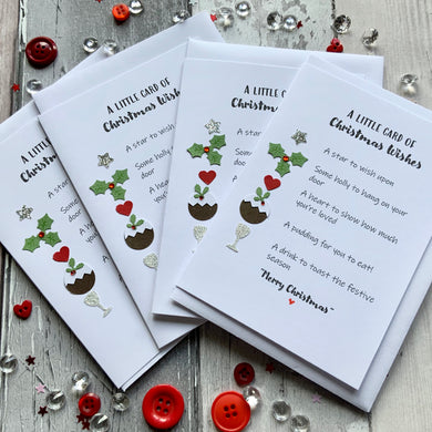Little Card of Christmas Wishes Pack of Four Christmas Cards