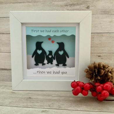 Penguin Then We Had You Family Mini Frame