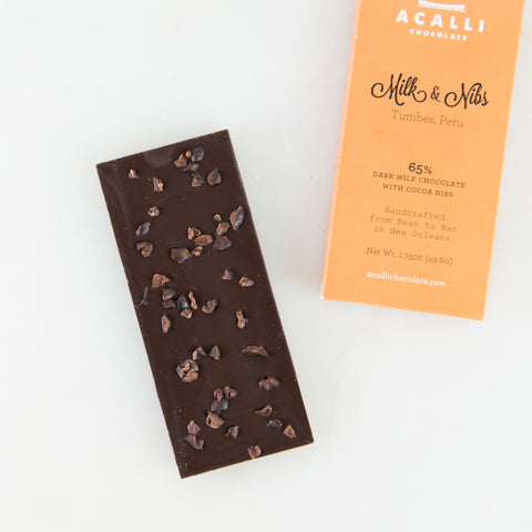 65% Dark Milk Chocolate Bar with Cacao Nibs