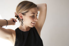 Load image into Gallery viewer, Black Three Drop Earrings by Algatite worn by Leanne Luce - 3D Printed Nylon with Sterling Silver