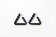 Load image into Gallery viewer, Black Triangle Hoop by Algatite - 3D Printed Nylon with Sterling Silver