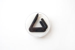 Black Triangle Hoop by Algatite - 3D Printed Nylon with Sterling Silver