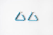 Load image into Gallery viewer, Turquoise Triangle Hoop by Algatite - 3D Printed Nylon with Sterling Silver