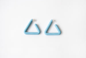 Turquoise Triangle Hoop by Algatite - 3D Printed Nylon with Sterling Silver