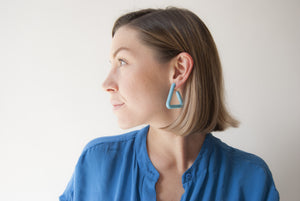 Turquoise Triangle Hoop by Algatite worn by Leanne Luce - 3D Printed Nylon with Sterling Silver