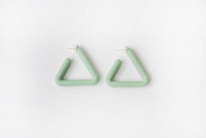 Green Triangle Hoop by Algatite - 3D Printed Nylon with Sterling Silver
