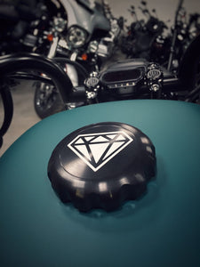 The Diamond Range Original Series Black Harley-Davidson Sportster Contrast Cut Diamond Gas Cap