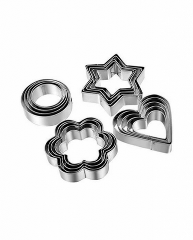 12 PCs Multi-Shape Stainless Steel Cookies Cutter