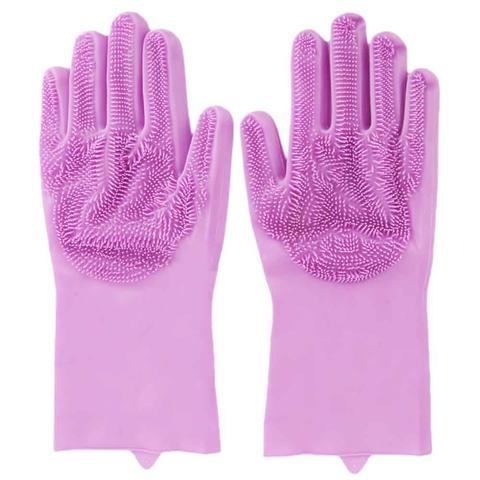 Magic Reusable Silicone Gloves Cleaning Brush Dishwashing Gloves Heat Resistant