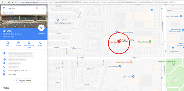 search a spy shop at google map