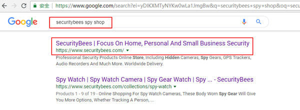 search a spy store at google