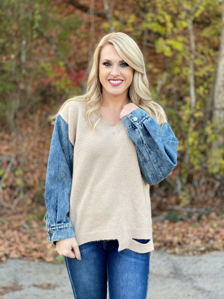 taupe sweater with denim sleeves