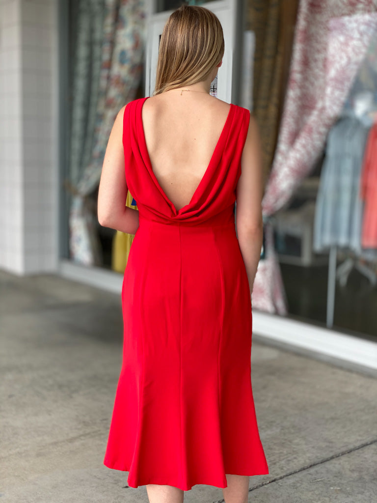 red draped back tank dress U69
