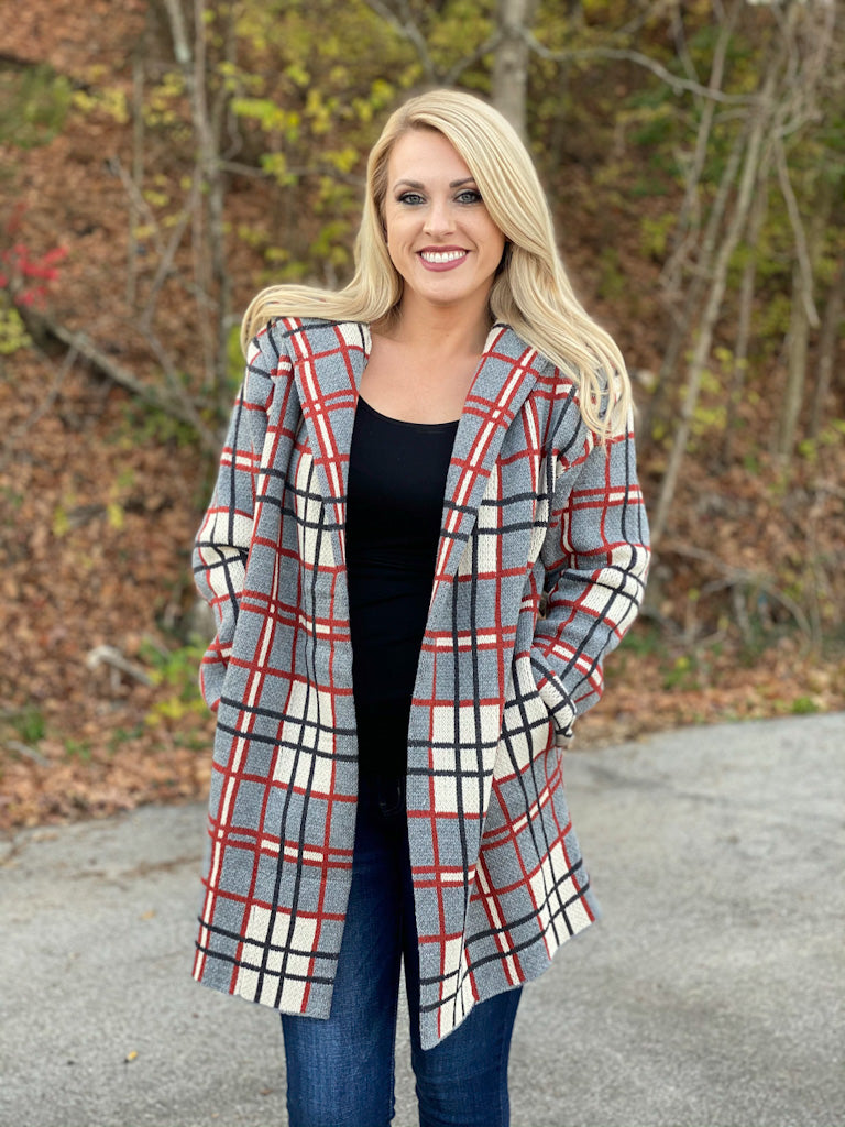 plaid sweater cardigan with hood D10 FINAL SALE NO EXCHANGE