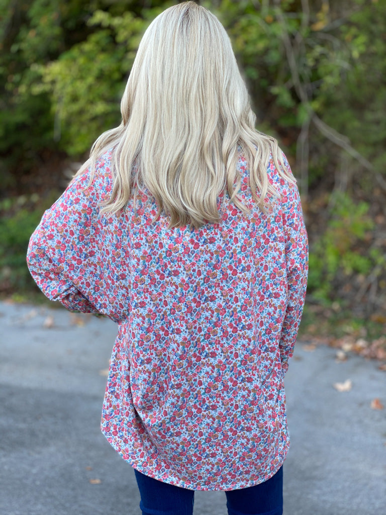 oversized floral printed top D7