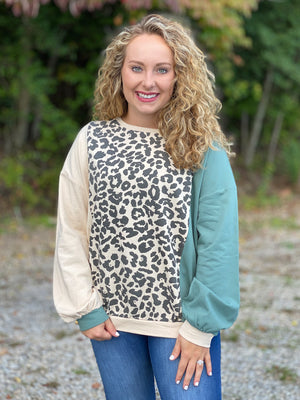 dusty teal and khaki leopard top S42 FINAL SALE NO EXCHANGE