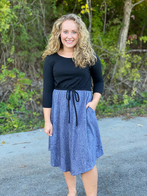 black/heathered navy dress E44