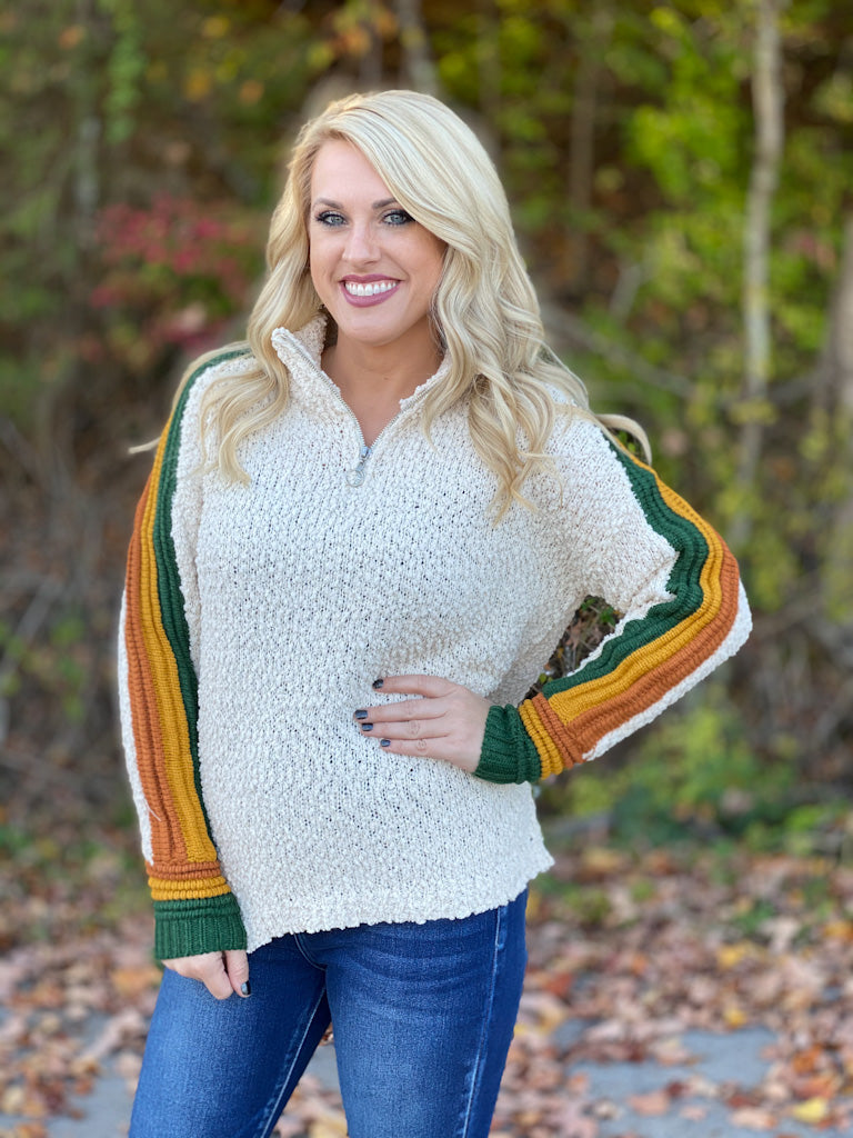 cream sweater with striped sleeves FINAL SALE NO EXCHANGE