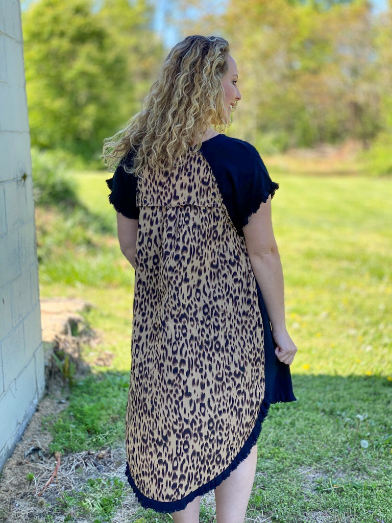 black leopard back dress R28 FINAL SALE NO EXCHANGE