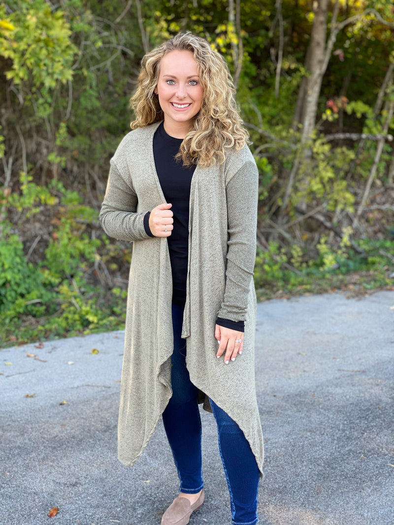 heathered olive cardigan M59 FINAL SALE NO EXCHANGE