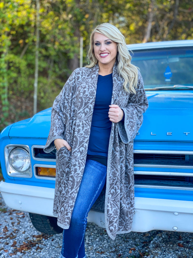 soft brushed printed duster M51 FINAL SALE NO EXCHANGE