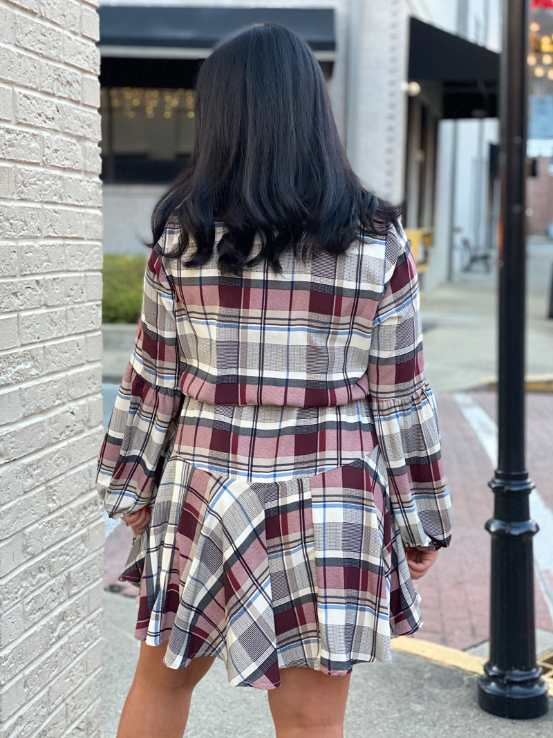 tie waist plaid dress X73