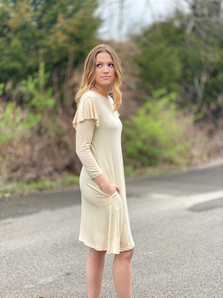 cream dress with ruffle shoulder H11 FINAL SALE NO EXCHANGE