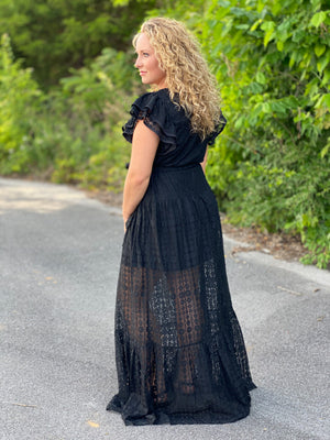 black lace maxi dress K73 FINAL SALE NO EXCHANGE